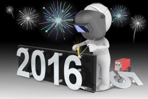 Dude 3D character The Welder changing number on New Year from 2015 to 2016.  Fireworks on black sky.